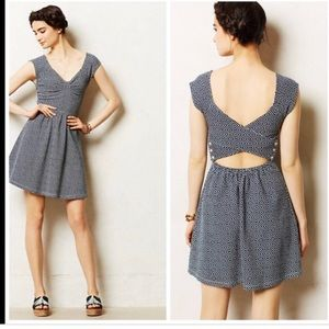 Anthropologie Postmark Matilde blue keyhole dress